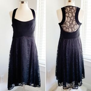 Nanette Lepore Halter Dress Black Lace Midi 6